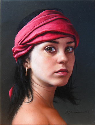 Duffy Sheridan - Head Study-Marieke With Rose