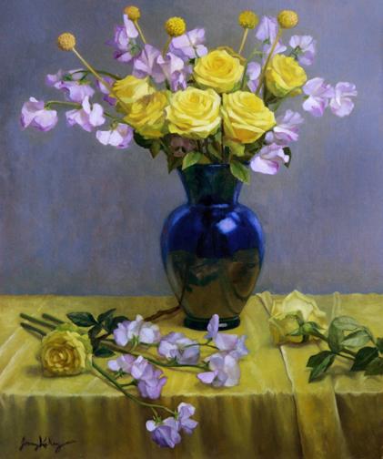 Jenny Kelley - Sweet Pea and Yellow Roses