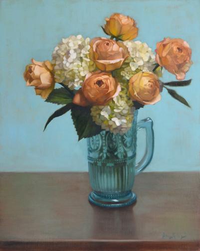 Jenny Kelley - White Hydrangeas and Caramel Roses