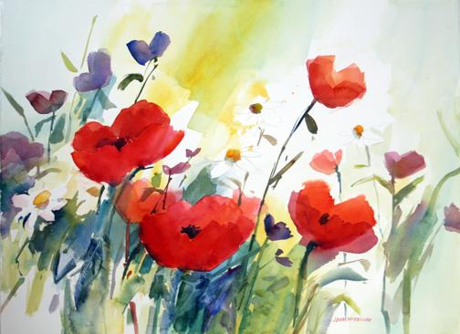 Joan McKasson - Red Poppies in Field