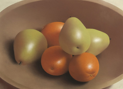 Robert Peterson - Pears & Oranges in Wooden Bowl