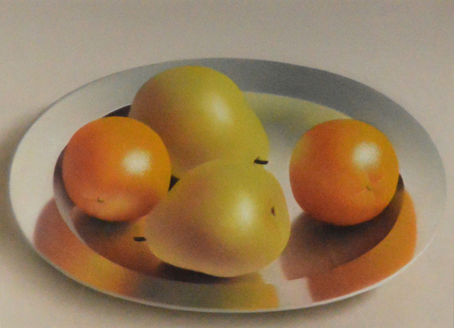 Robert Peterson - Pears and Oranges on Silver Platter