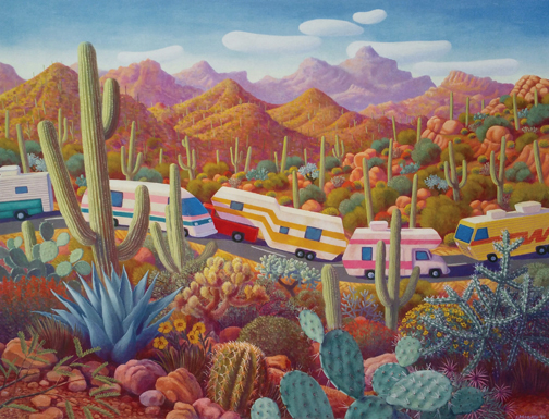Stephen  Morath Small Prints - More Snowbirds In Cactusland