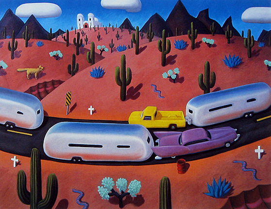 Stephen  Morath Small Prints - Airstreams In Cactusland - Matted Print